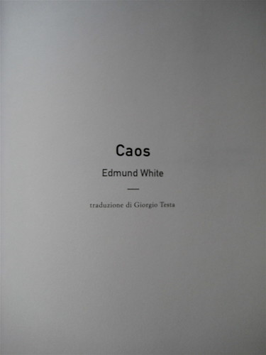 Edmund White, Caos, Playground 2009; frontespizio (part.)