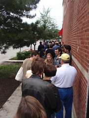 View from the rear of the line, ETA to hot dog 1 hour 27 minutes