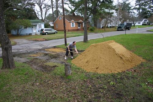 New Driveway - Ryan Shovels Sand (Far)