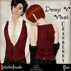 Schadenfreude - Deep V Vest - Cranberry