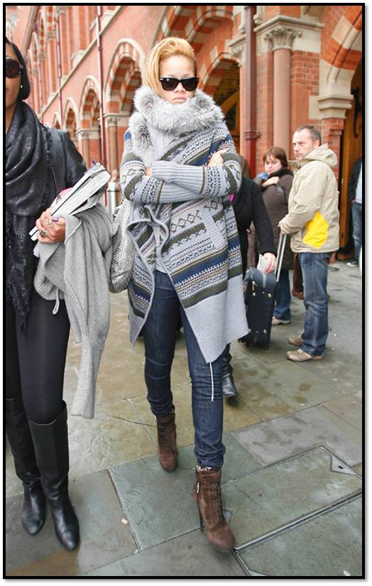 Rihanna Out and About in Sweater,Jeans in London 11-13 1