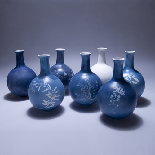 Studio Glithero vases in blueprint