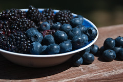 Marionberries and blueberries