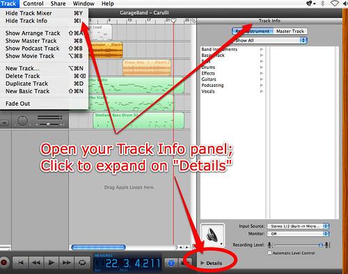 Track Info panel