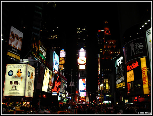 Summer Night City. Dark, Lights, Ironic Sights. Times Square, NY. Kodak Moment On A Nikon. IMRAN™ - Please Read Below