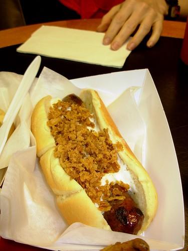 Ribeye Steak Sausage with Horseradish Cream Sauce and Crispy Fried Onions