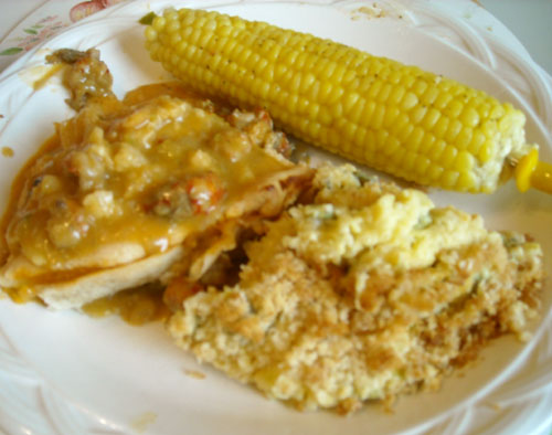 Crawfish Pie, Fresh Sweet Corn, and Zucchini Casserole - yum!