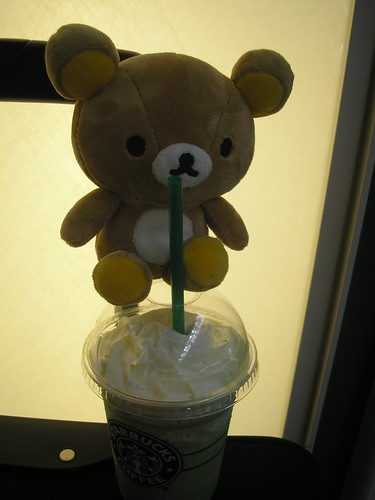 Rilakkuma - waiting at Nagoya airport with a Matcha Frappuccino