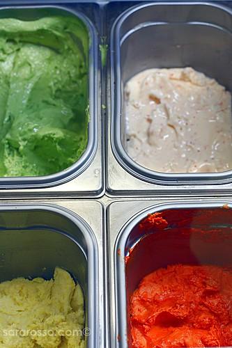 Savoury / Bittersweet gelato - Celery, Habanero, Bell Pepper, Onion Frittata at Il Gelato gelateria, Milan, Italy