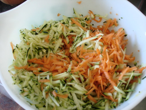 Grated zucchini + carrots