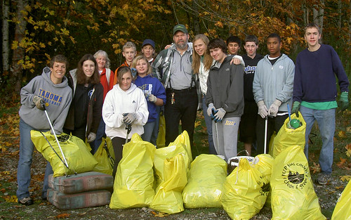 Trail clean-up volunteers, with KC Parks own Anthony Haapasaari