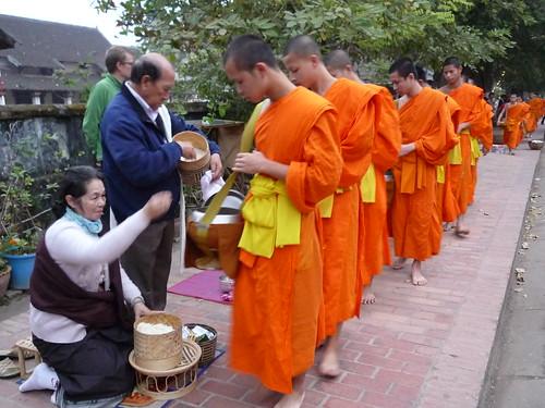 Daily food donation to monks, Luang Prabang