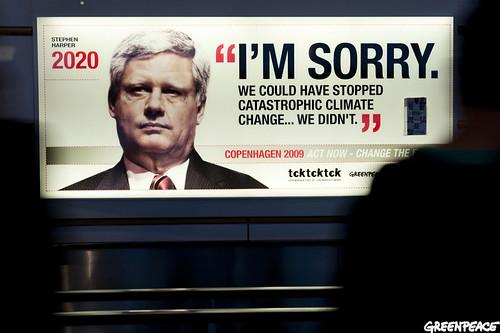 Copenhagen COP15 Stephen Harper Greenpeace Ad Protest Climate Change