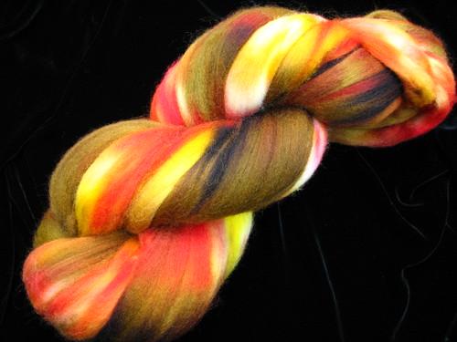 Autumn Splendor 8 oz Corriedale Hand Dyed Fiber Wool Top