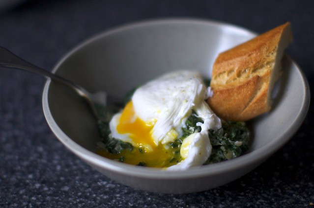 poached egg, creamed spinach