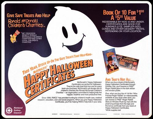 McDonald's Happy Halloween Certificates
