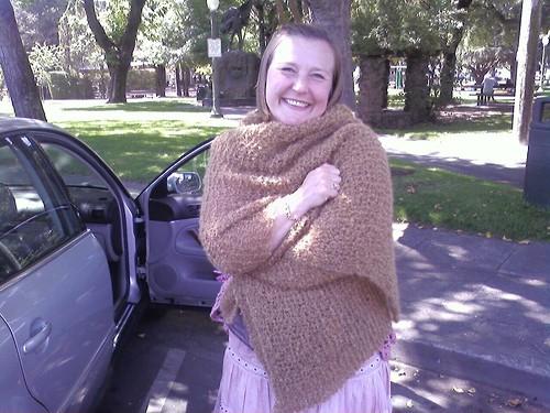 Anna likes her birthday shawl