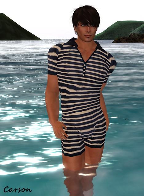 StarChild Designs - 1920's Navy Stripe Swimsuit
