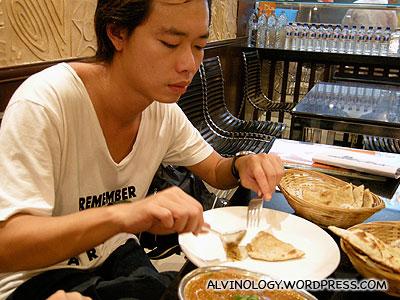 Leon enjoying his dinner