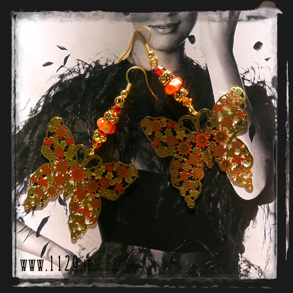 orecchini farfalla arancio - orange millefiori butterfly earrings INFARFA