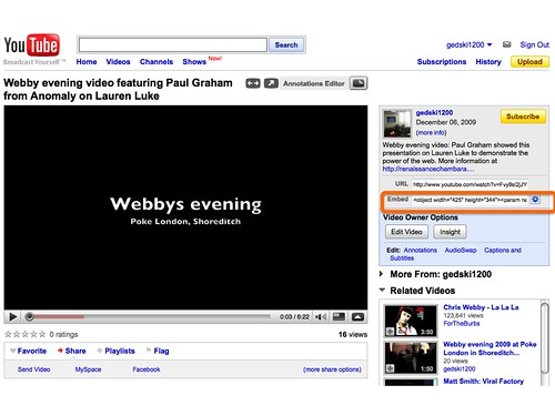 Youtube video embed