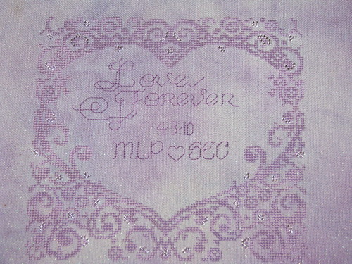Finished Lace Heart Wedding Sampler Cross Stitch