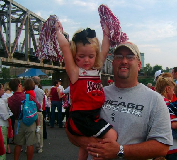 Cecelia and her daddy, Hugh - Saturday Pep Rally