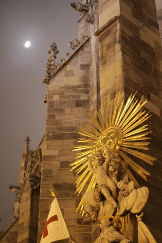 Stephansdom and moon in fog, Vienna