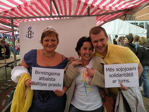 Kristine, Leda and Kaspars by AmnestyBrum: Amnesty Central Birmingham Group