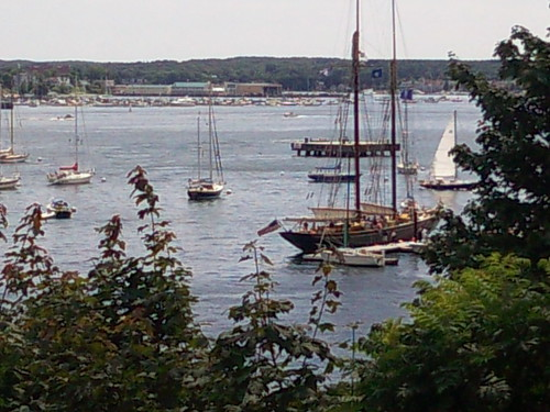 Two masted schooner in Portland Yacht Marina from Fort Allen Park, Eastern Promenade, Portland, ME 08/08/09