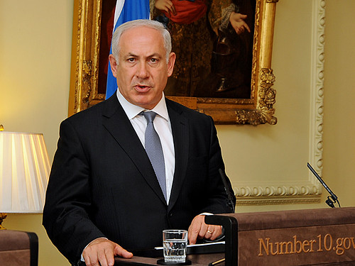 Benjamin Netanyahu at press conference by Downing Street.