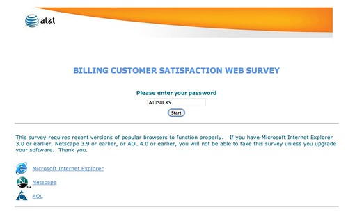 AT&T Web survey with Netscape