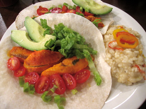 Spicy Fish Tacos w/ Mexi-Risotto