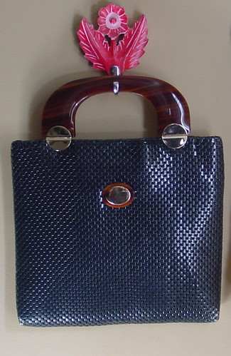 Whiting & Davis Blue Enamel Mesh Bag