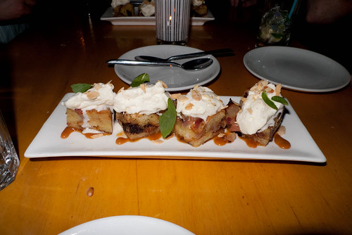 Bacon bread pudding with Cointreau-infused cream. Photo by DC.