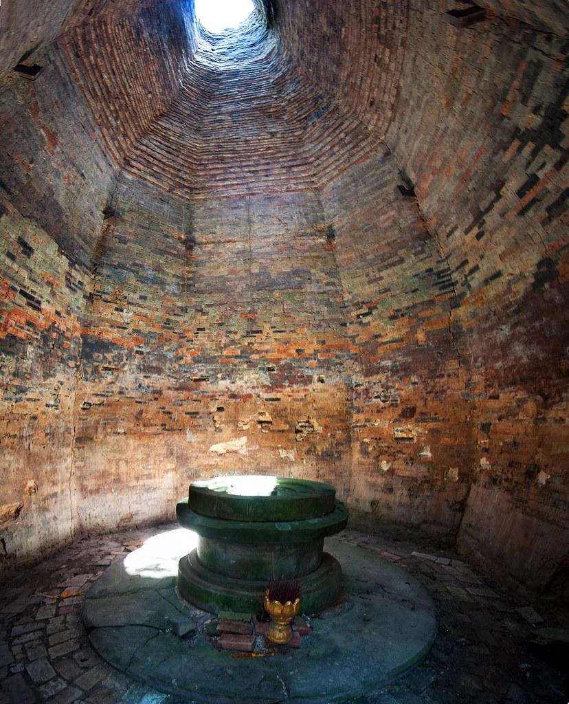 Inside a brick temple