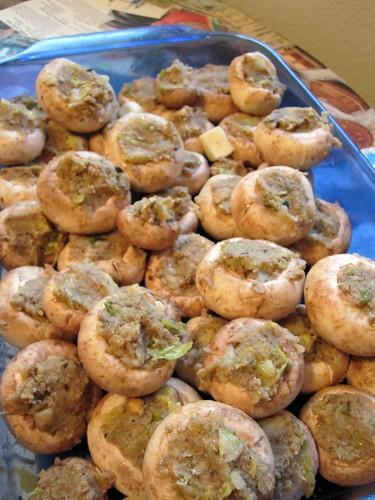 mushrooms, pre-baked