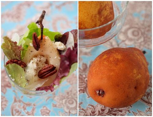 Pear and Salad Up Close