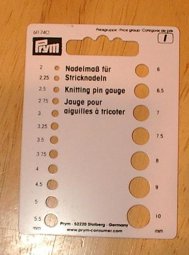 front of Prym knitting pin gauge