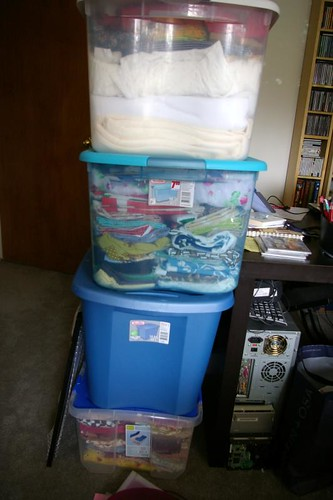 4 boxes full of fabric