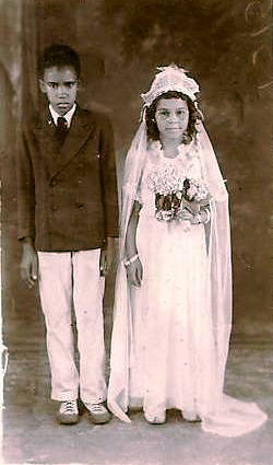 Vintage Postcard ~ Child Bride & Groom