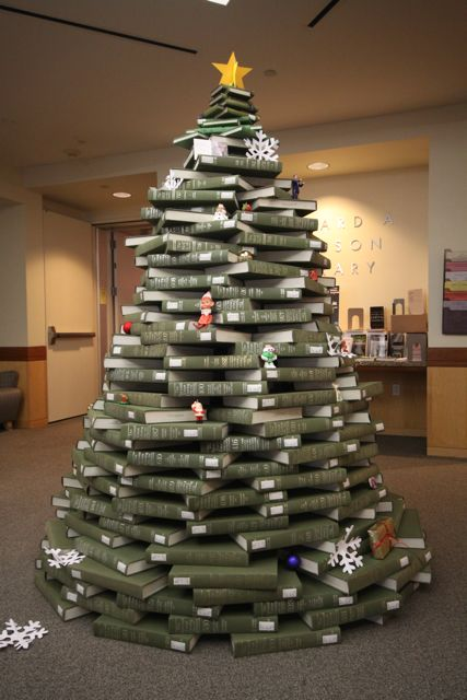 christmas tree made from stacked green books