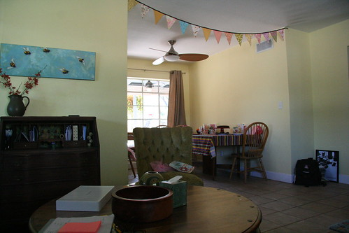 The yellow living room & festive bunting