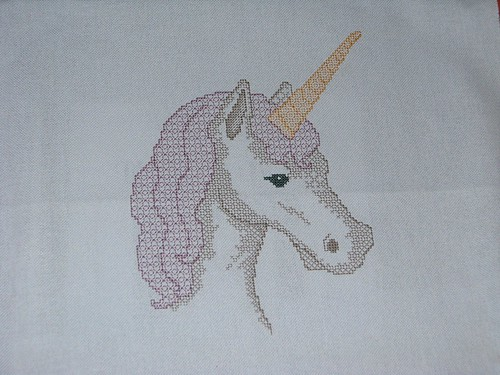 finished blackwork unicorn cross stitch