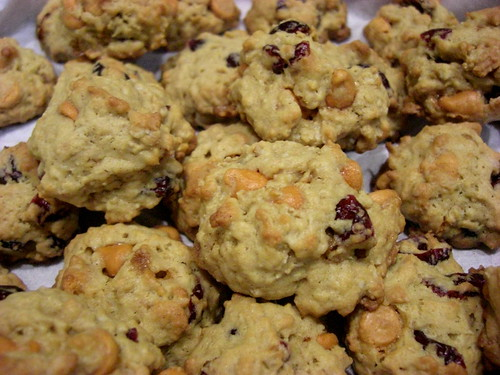 Cookies with butterscotch chips and cranberries