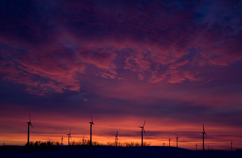Sunset at the Buffalo Ridge wind farm