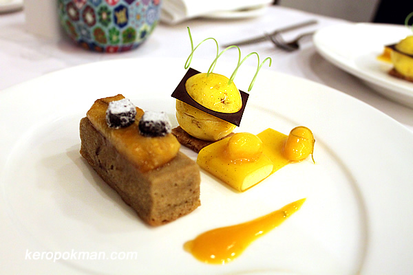 """Almond Biscuit with Chocolate Banana Ice Nougat and Mango """"Bomb"""" in Passion Fruit Snow Jelly Wrap"""