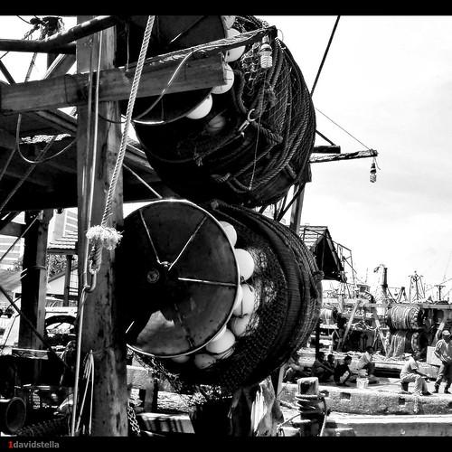 nets spools on fishing boat