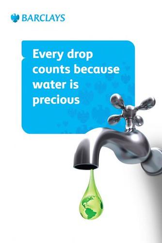 Barcklays. Cada gota cuenta, porque el agua es un tesoro.