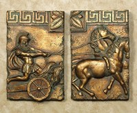 Roman Chariot Horse Wall Plaque 2 Piece Home Art Decor